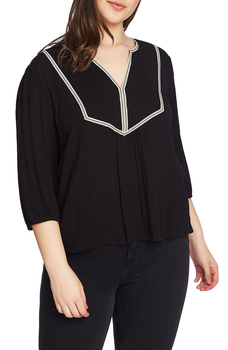 1.STATE Split Neck Blouse, Main, color, 001