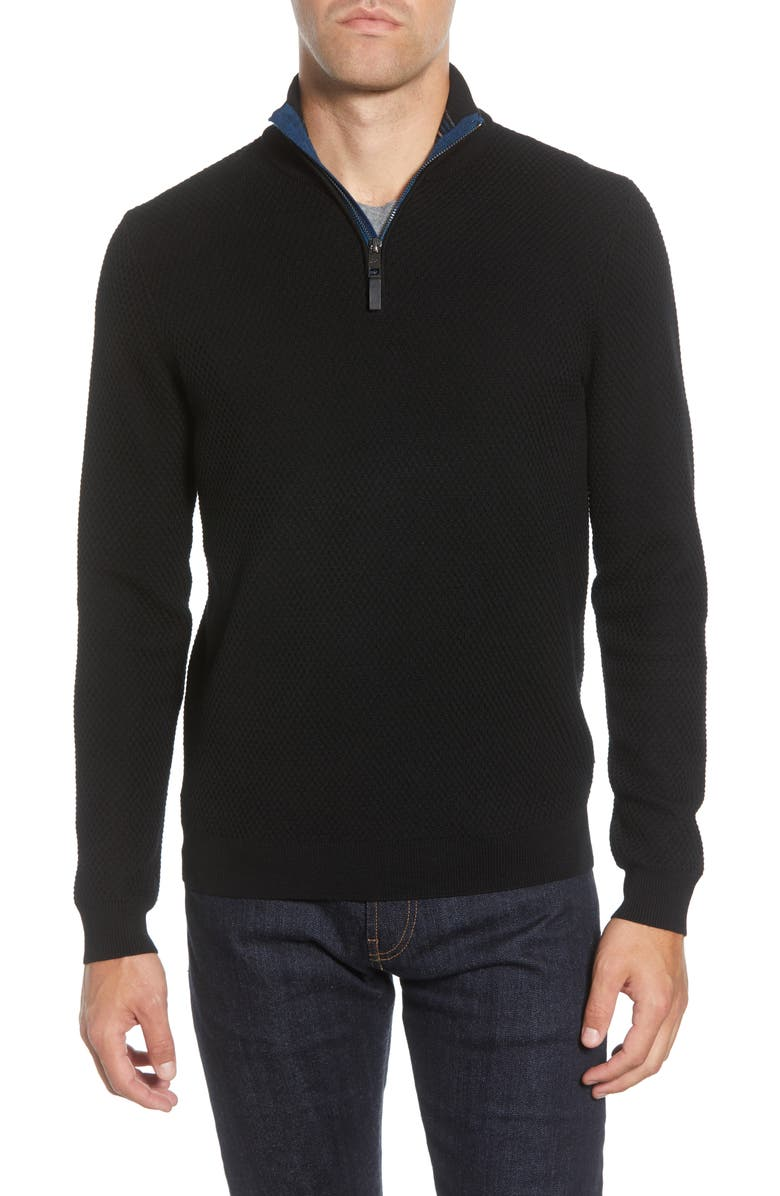 TED BAKER LONDON Tunnel Slim Fit Textured Quarter Zip Sweater, Main, color, BLACK
