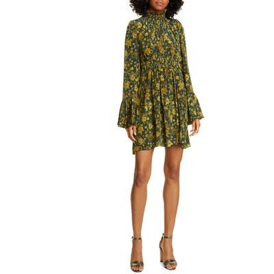 Amur Sorah Floral Print Long Sleeve Silk Minidress, Green