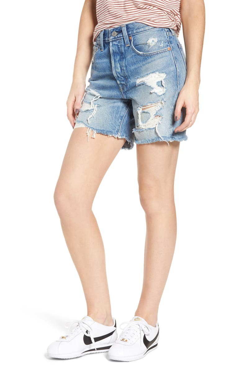 LEVI'S<SUP>®</SUP> Indie Shredded Cutoff Denim Shorts, Main, color, 450