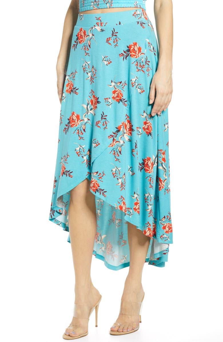 BP. Floral Print High/Low Midi Skirt, Main, color, 440