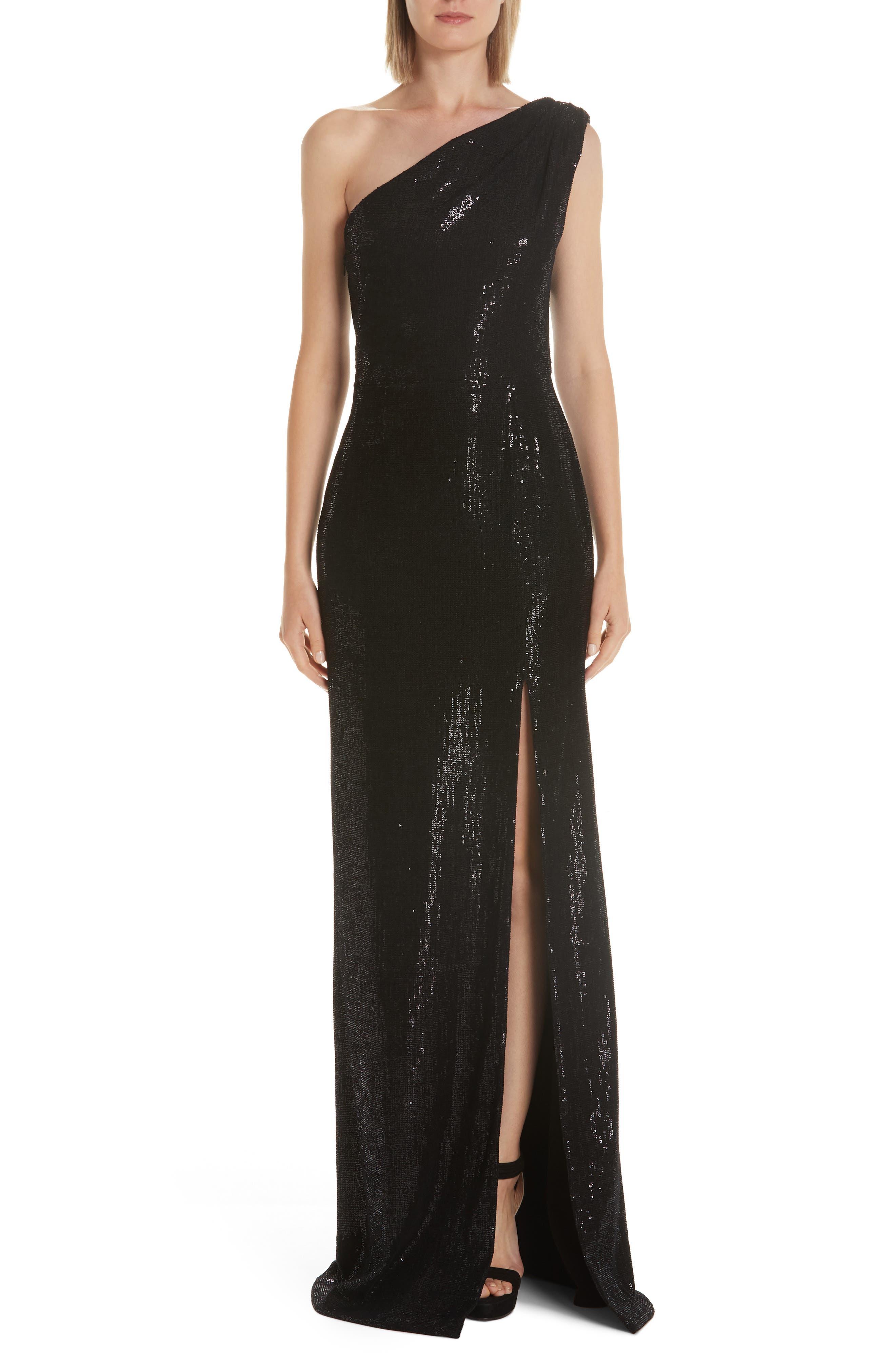Haney Zane Sequin One-Shoulder Evening Dress, Black
