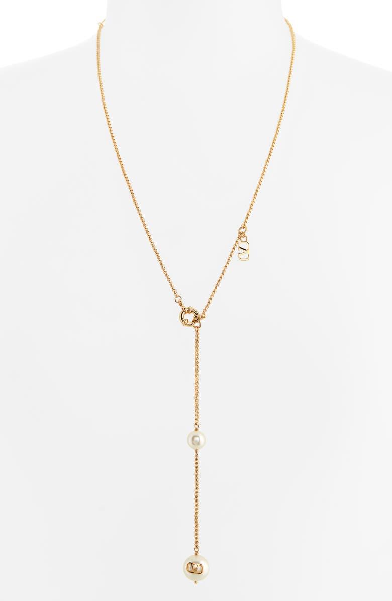 VALENTINO VLOGO Imitation Pearl Y-Necklace, Main, color, GOLD/ PEARL