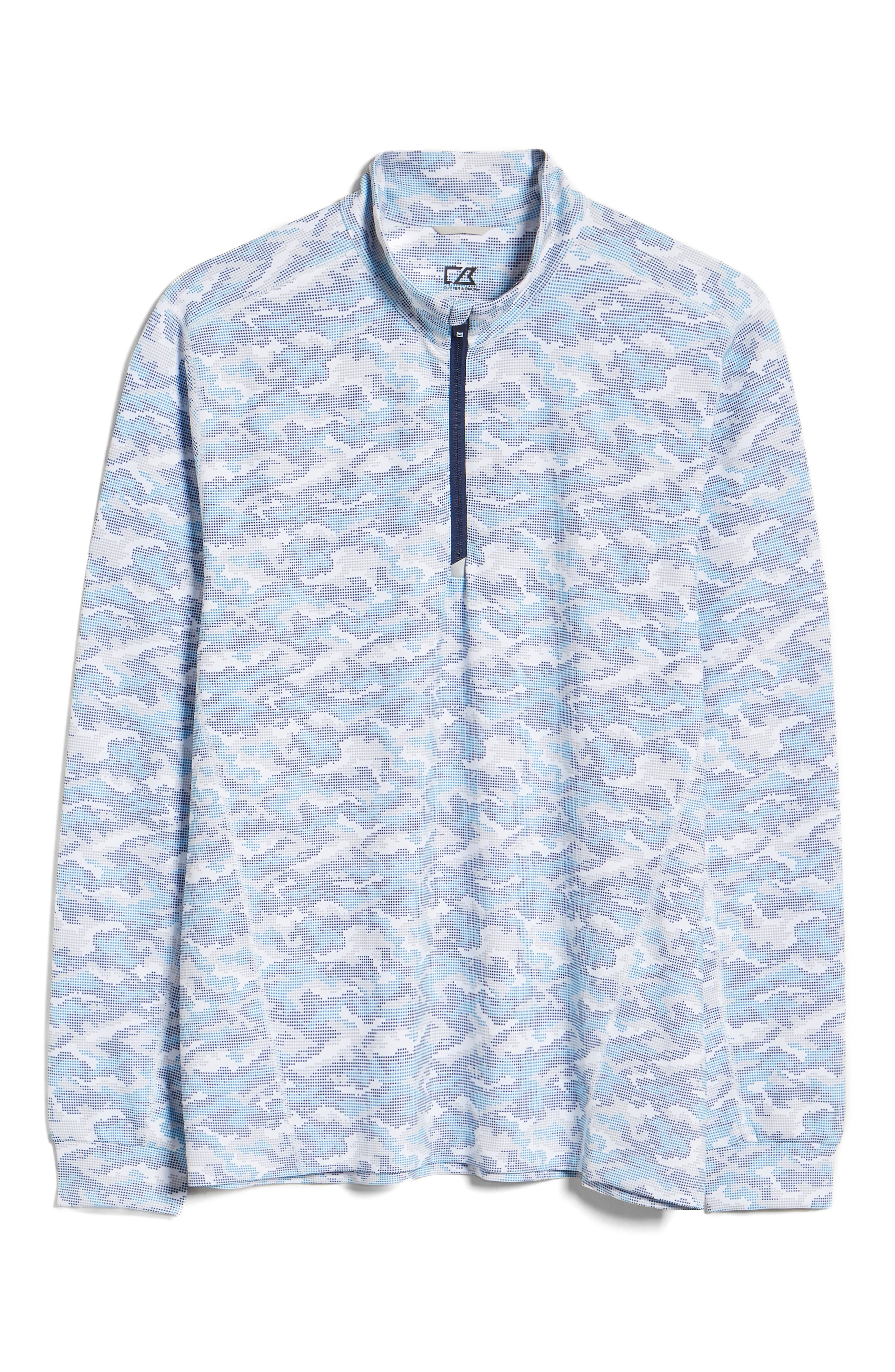 Men s Cutter amp Buck Traverse Camo Print Quarter Zip Performance Pullover