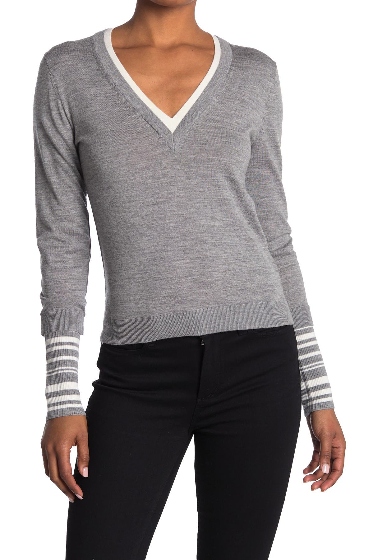 Image of VERONICA BEARD Avory Contrast Cuff Merino Wool Blend Sweater