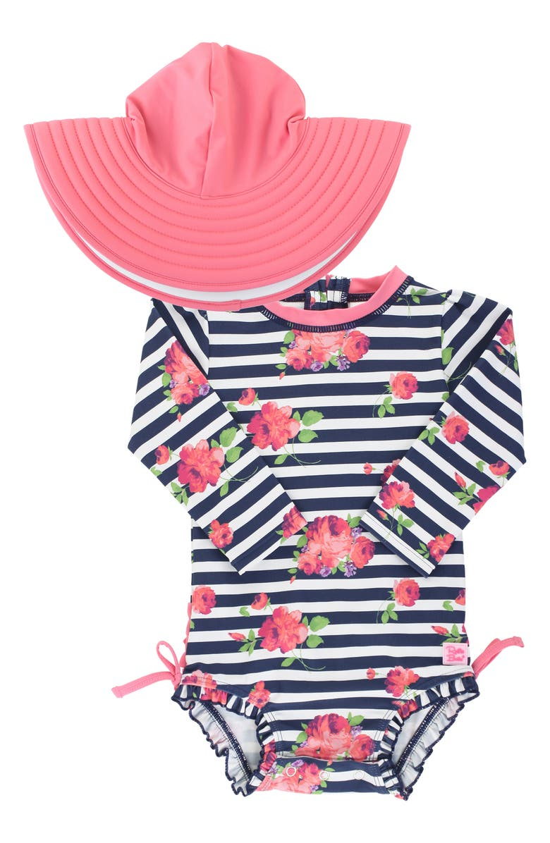 RUFFLEBUTTS Stripe One-Piece Rashguard Swimsuit & Reversible Sun Hat Set, Main, color, BLUE