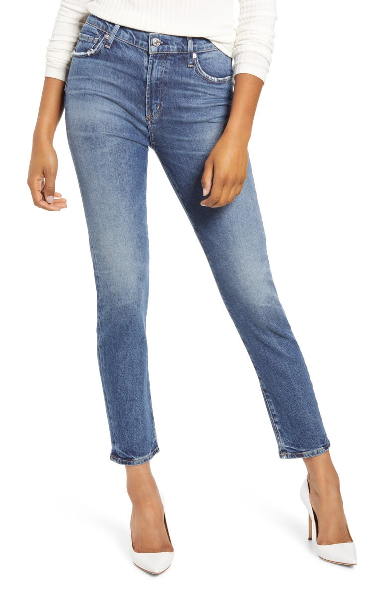 CITIZENS OF HUMANITY Harlow High Waist Ankle Slim Cut Jeans, Main, color, MOMENTS