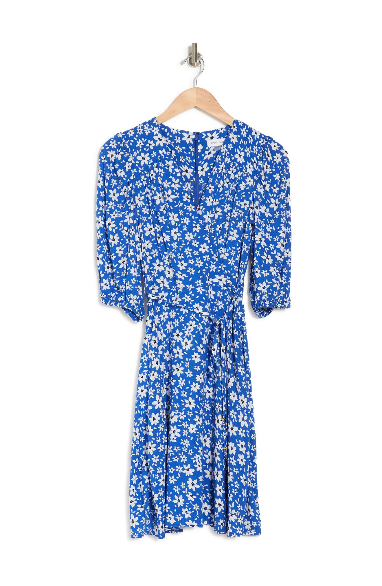 Image of Calvin Klein Floral Print Faux Wrap Dress