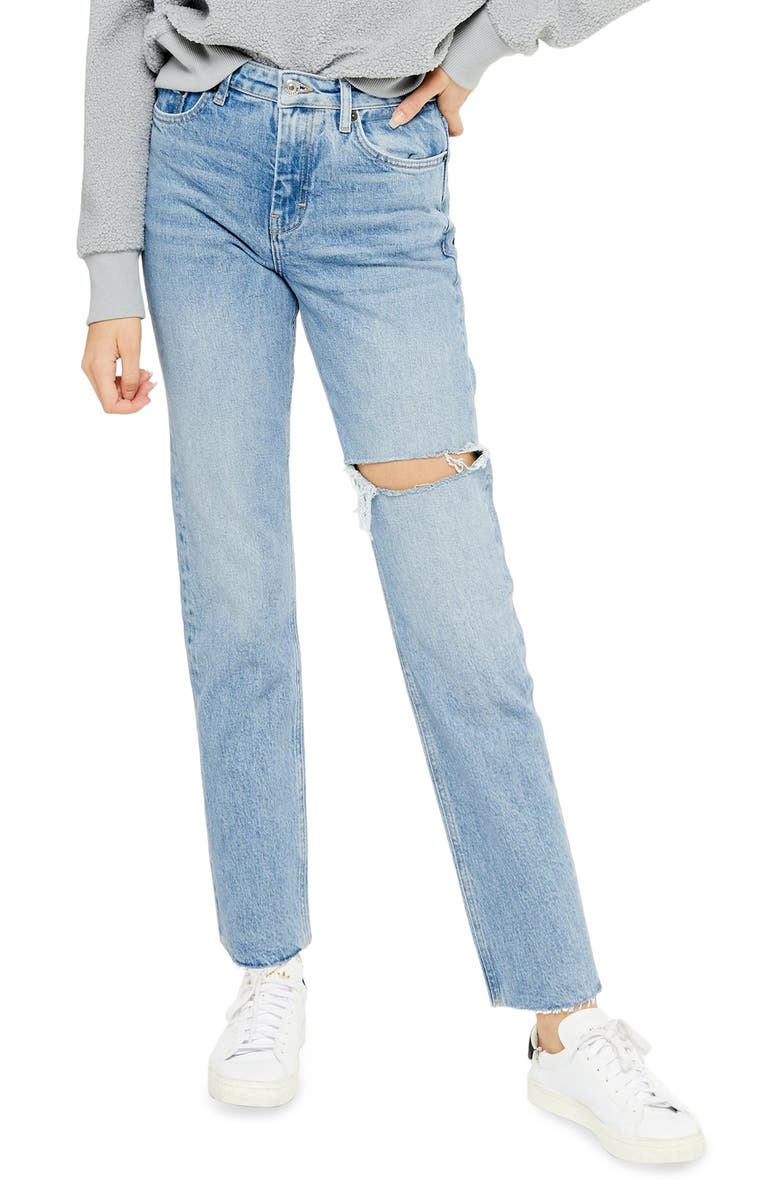 TOPSHOP Ripped Straight Leg Jeans, Main, color, BLEACH