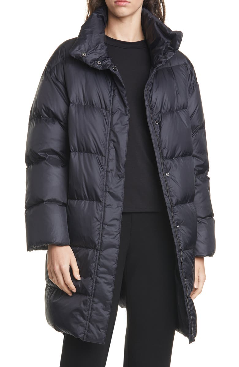 EILEEN FISHER Funnel Neck Down Coat, Main, color, BLACK