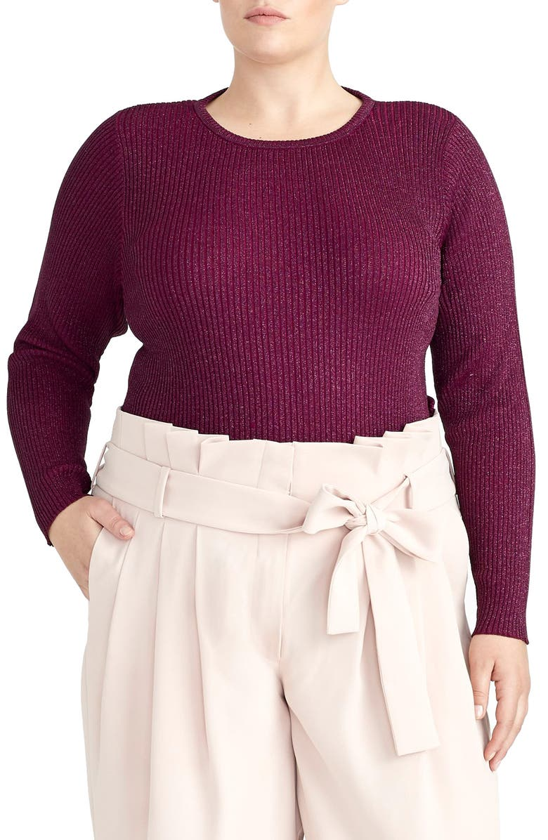 RACHEL ROY COLLECTION Metallic Ribbed Sweater, Main, color, VICTORIAN VIOLET
