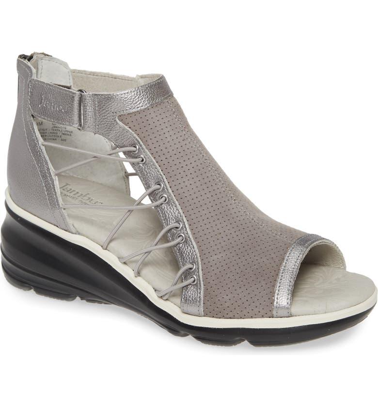 JAMBU Naomi Perforated Wedge Sandal, Main, color, GREY/ GUNMETAL SUEDE
