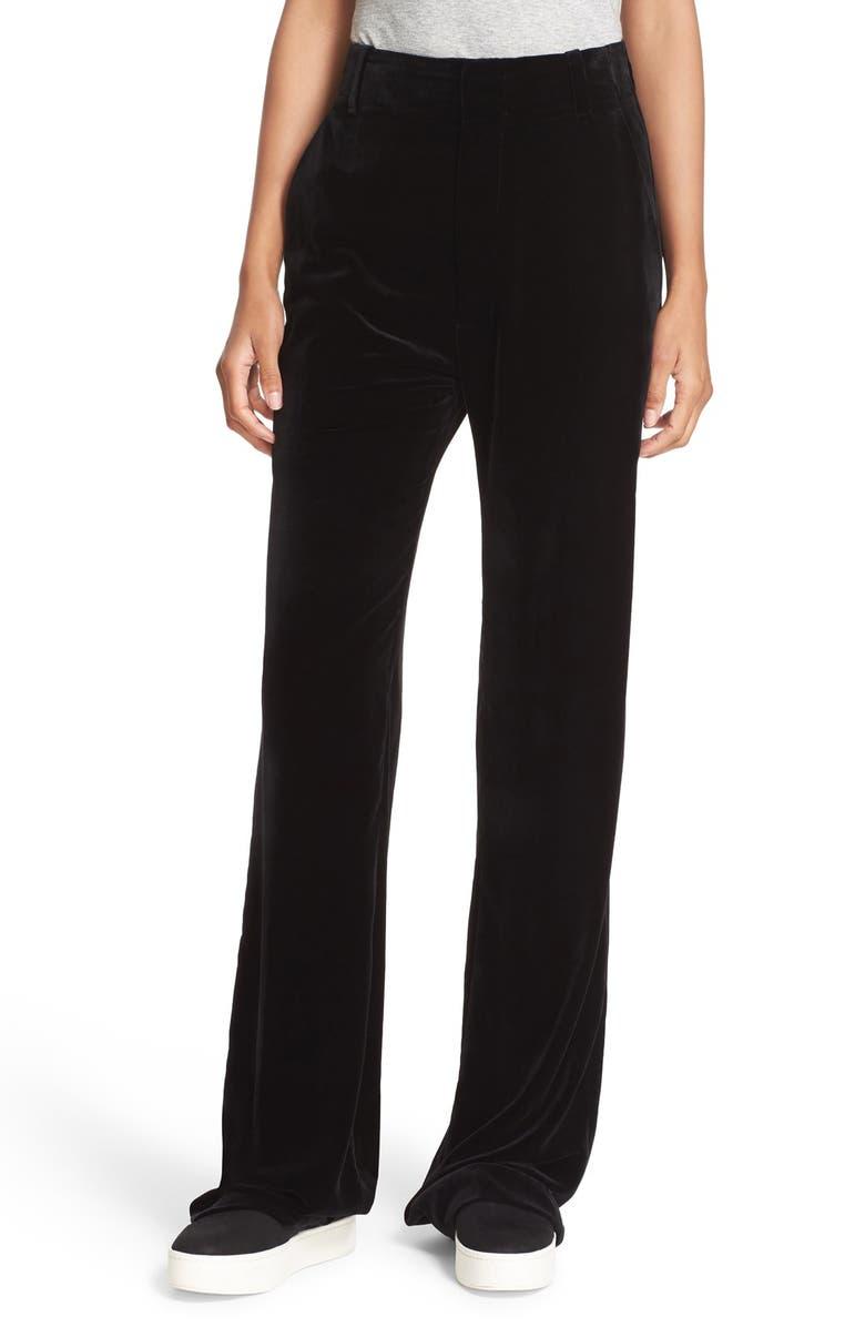 VINCE Wide Leg Velvet Trousers, Main, color, 001