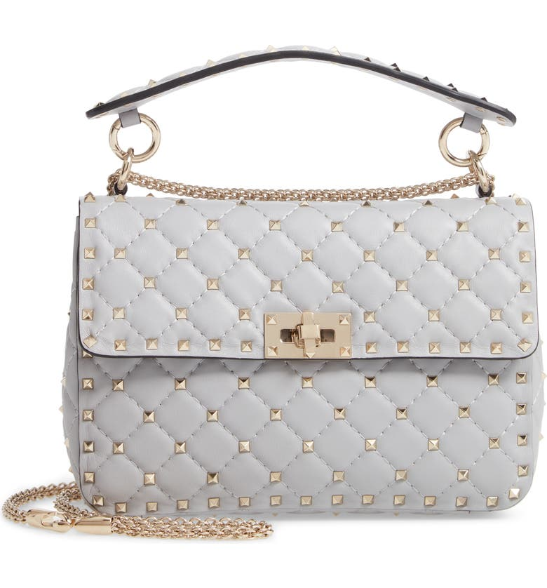 VALENTINO GARAVANI Medium Rockstud Matelassé Quilted Leather Crossbody Bag, Main, color, PASTEL GREY