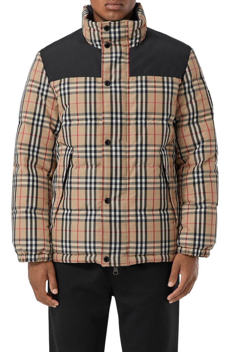 BURBERRY Reversible Vintage Check Down Puffer Coat, Main, color, BEIGE