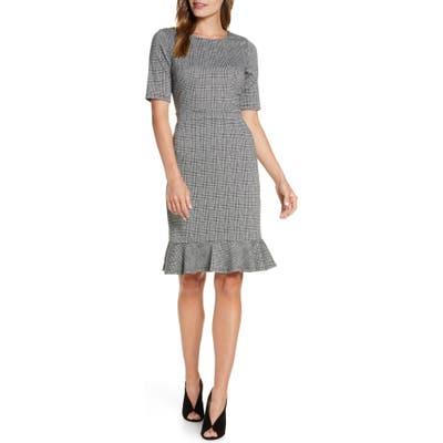 Leota Gia Glen Plaid Flounce Hem Dress, Grey