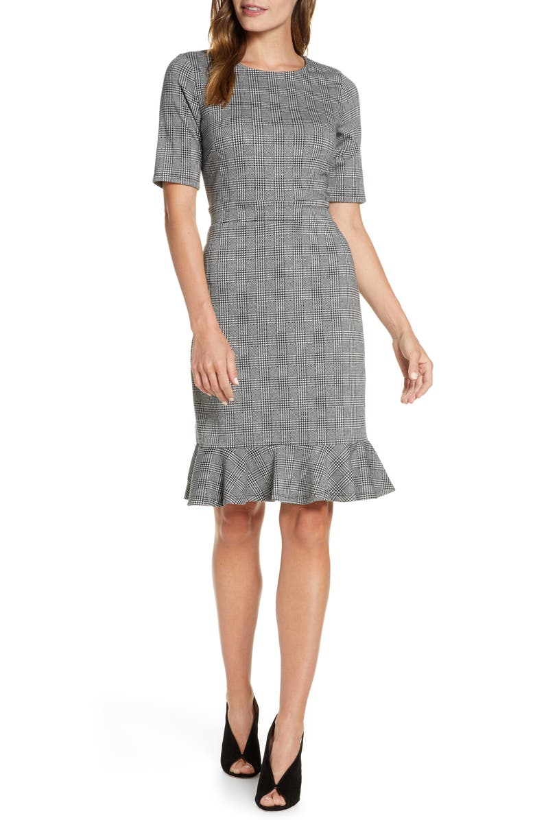 LEOTA Gia Glen Plaid Flounce Hem Dress, Main, color, GLEN PLAID