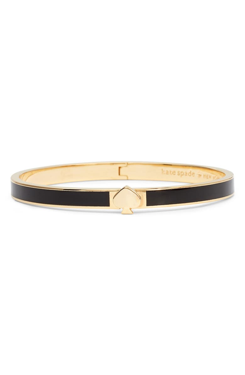 KATE SPADE NEW YORK enamel spade bangle, Main, color, BLACK
