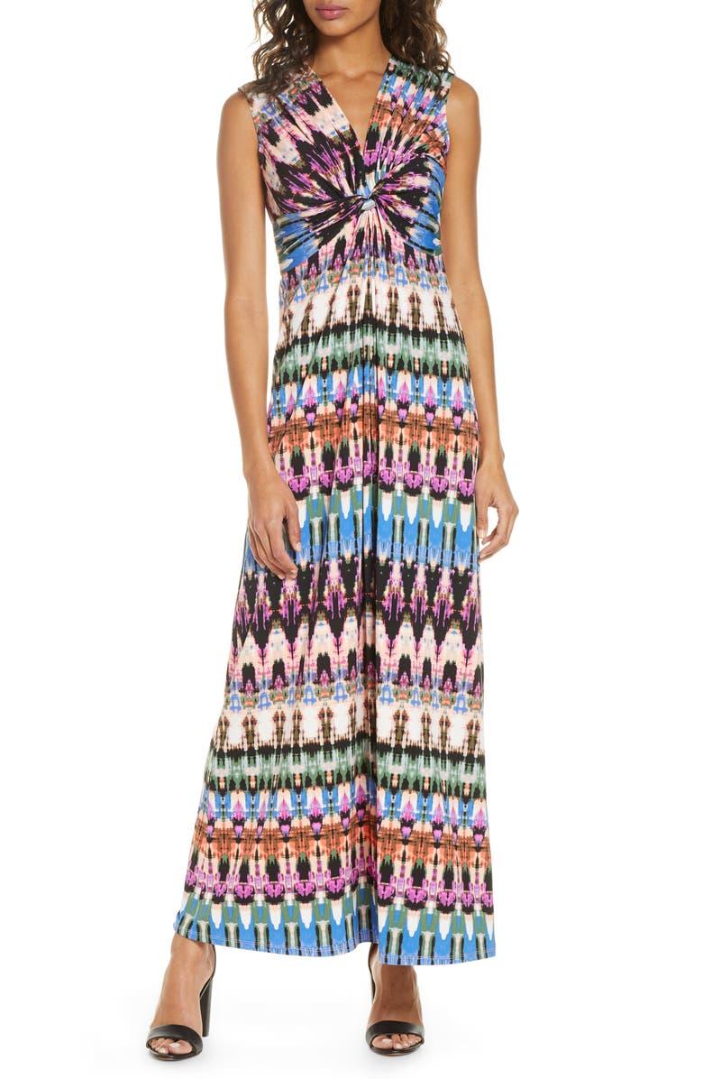 ELIZA J Sleeveless Knot Detail Maxi Dress, Main, color, MULTI