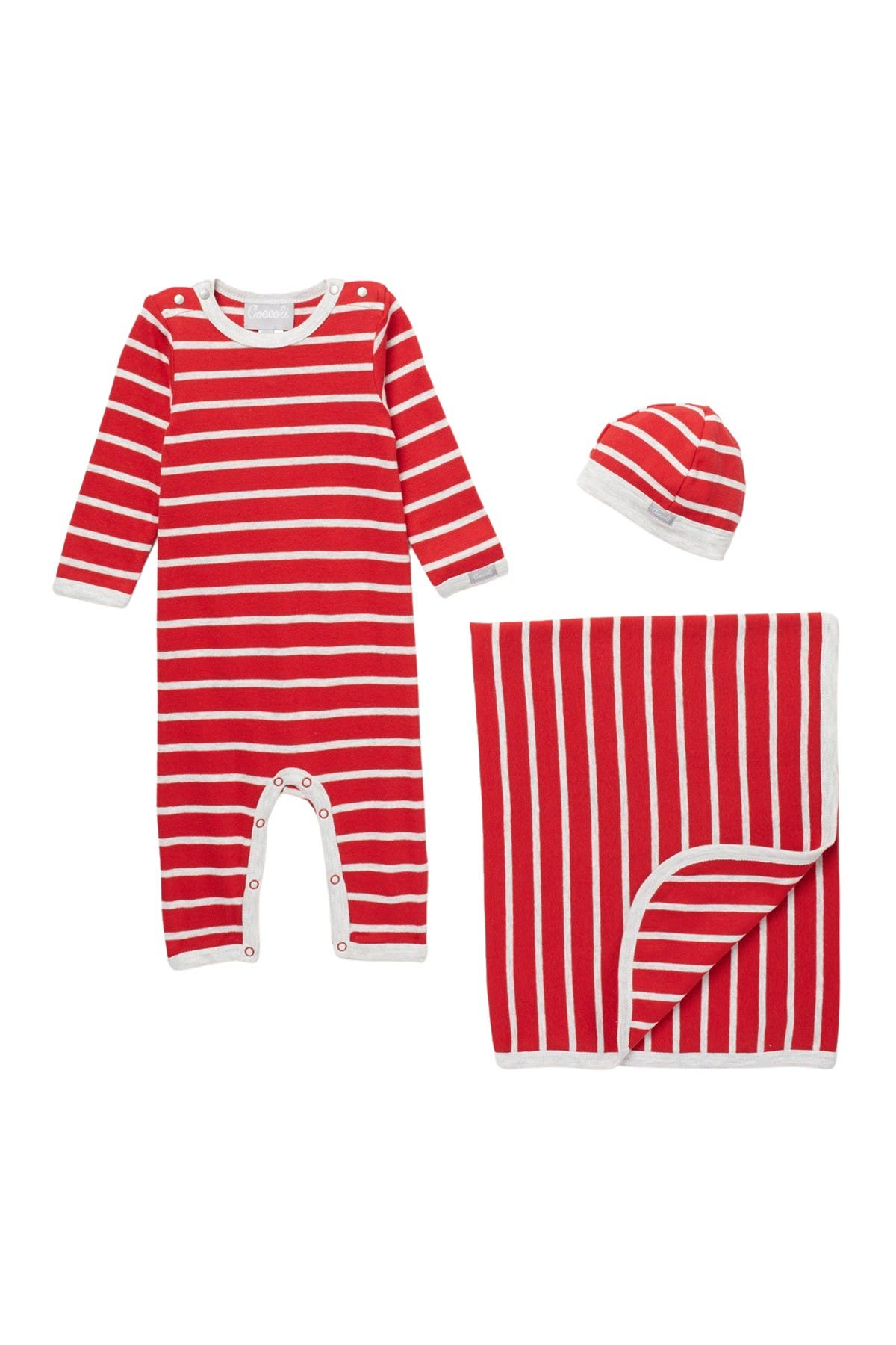 Image of Coccoli Striped Footie, Cap, & Blanket Set
