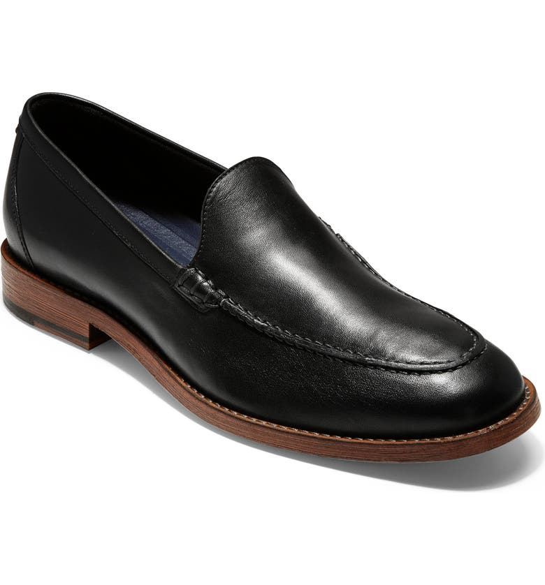 COLE HAAN Feathercraft Grand Venetian Loafer, Main, color, BLACK LEATHER