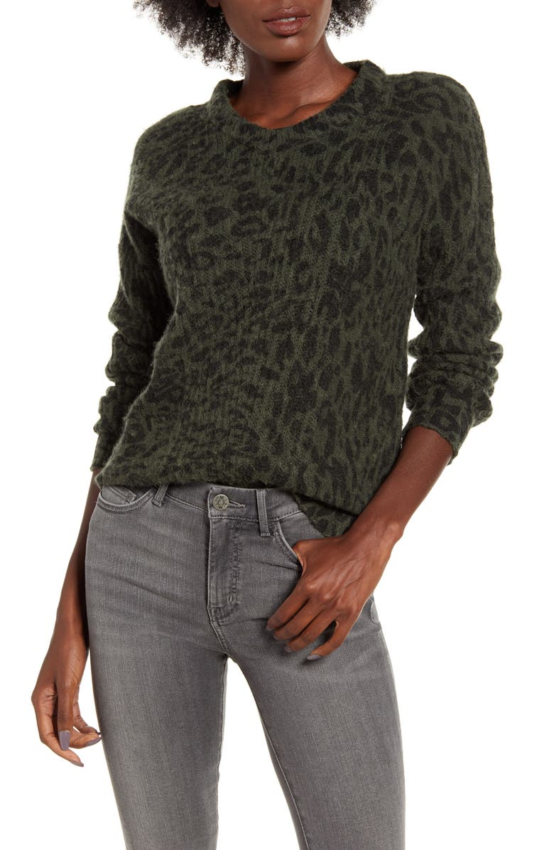 RAILS Joanna Wool Blend Sweater, Main, color, OLIVE LEOPARD