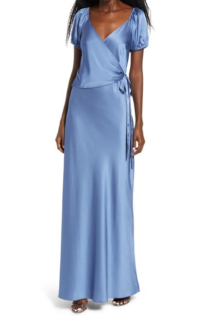 Image of WAYF The Bea Faux Wrap V-Neck Dress