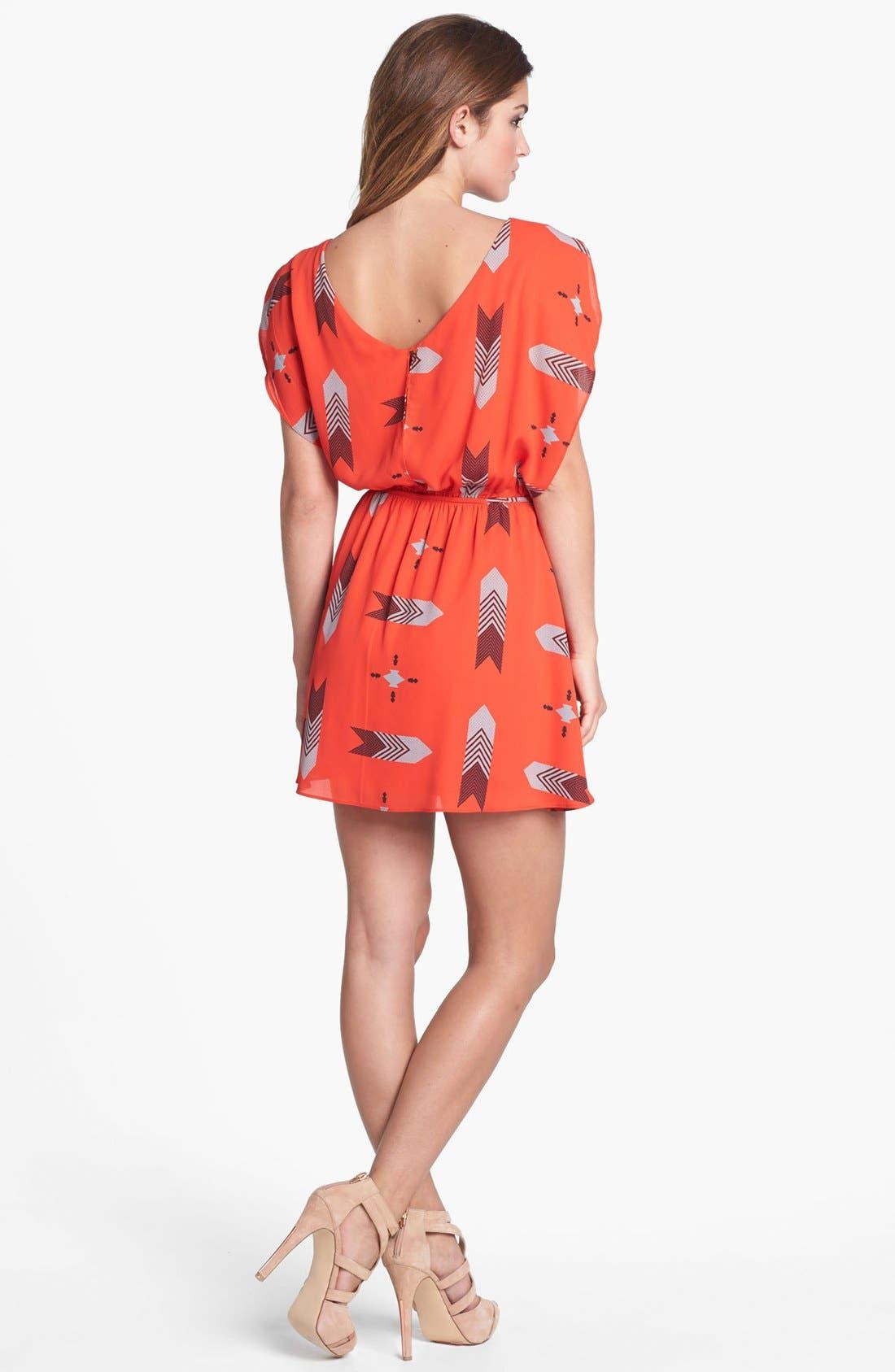 ,                             'Audrey' Print Flutter Sleeve Dress,                             Alternate thumbnail 3, color,                             601