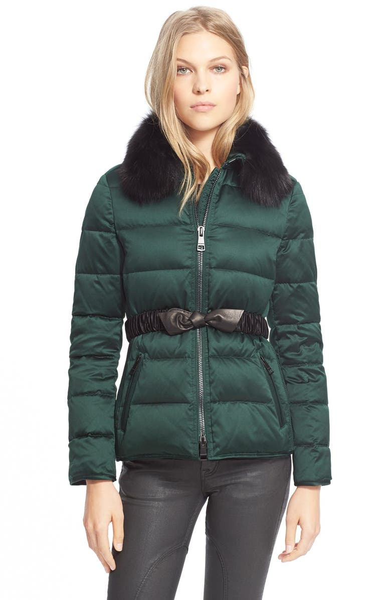 de85fc309f6 Burberry Brit Belted Down Jacket with Genuine Fox Fur Collar, Main, color,  ...