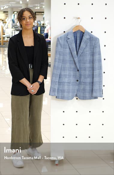 Slim Fit Unstructured Check Wool Blend Sport Coat, sales video thumbnail