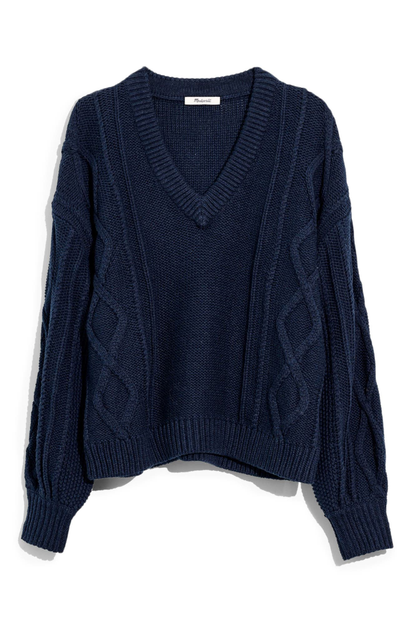Augustus Cable Knit V Neck Sweater by Madewell