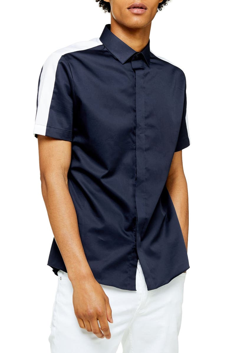 TOPMAN Slim Fit Short Sleeve Button-Up Shirt, Main, color, NAVY BLUE