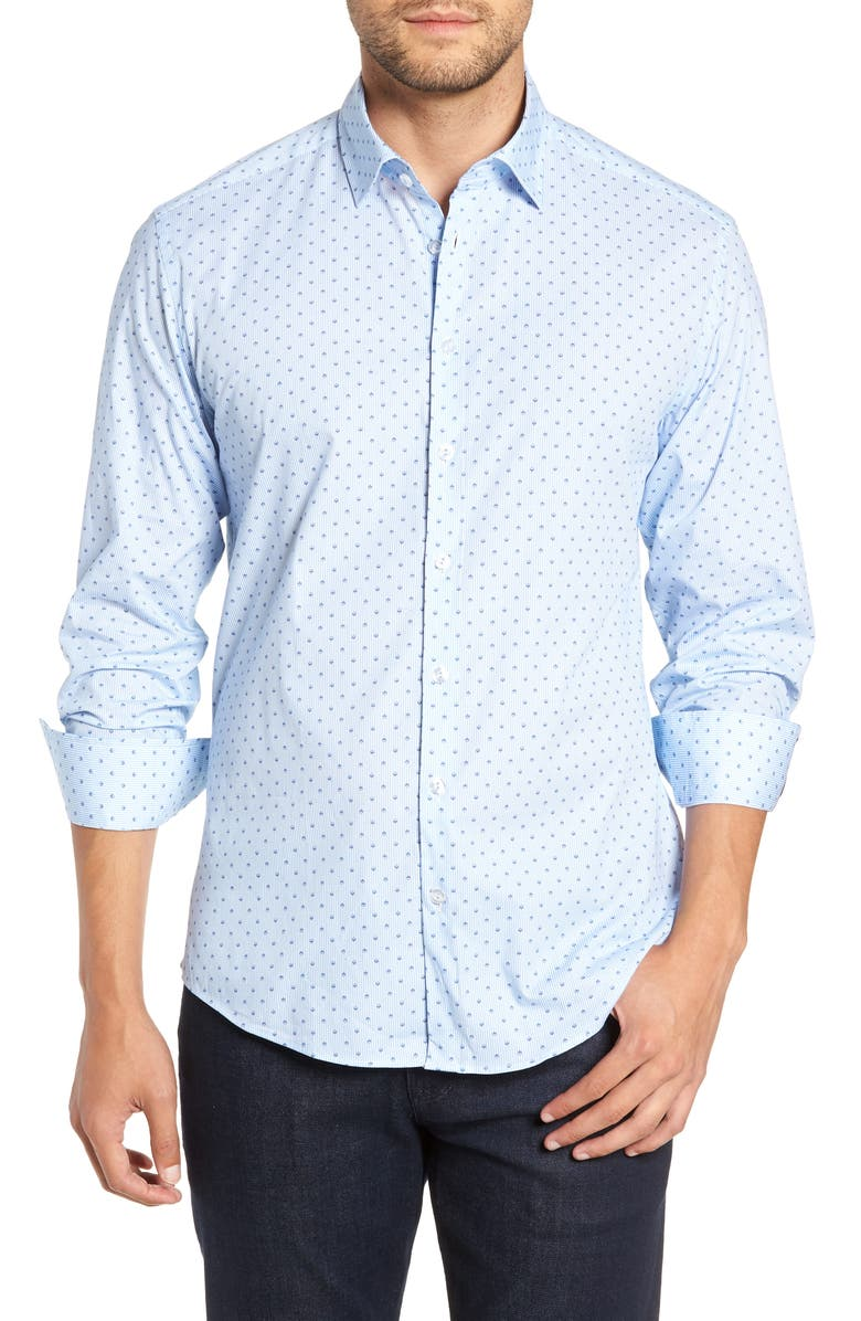 STONE ROSE Regular Fit Print Shirt, Main, color, BLUE