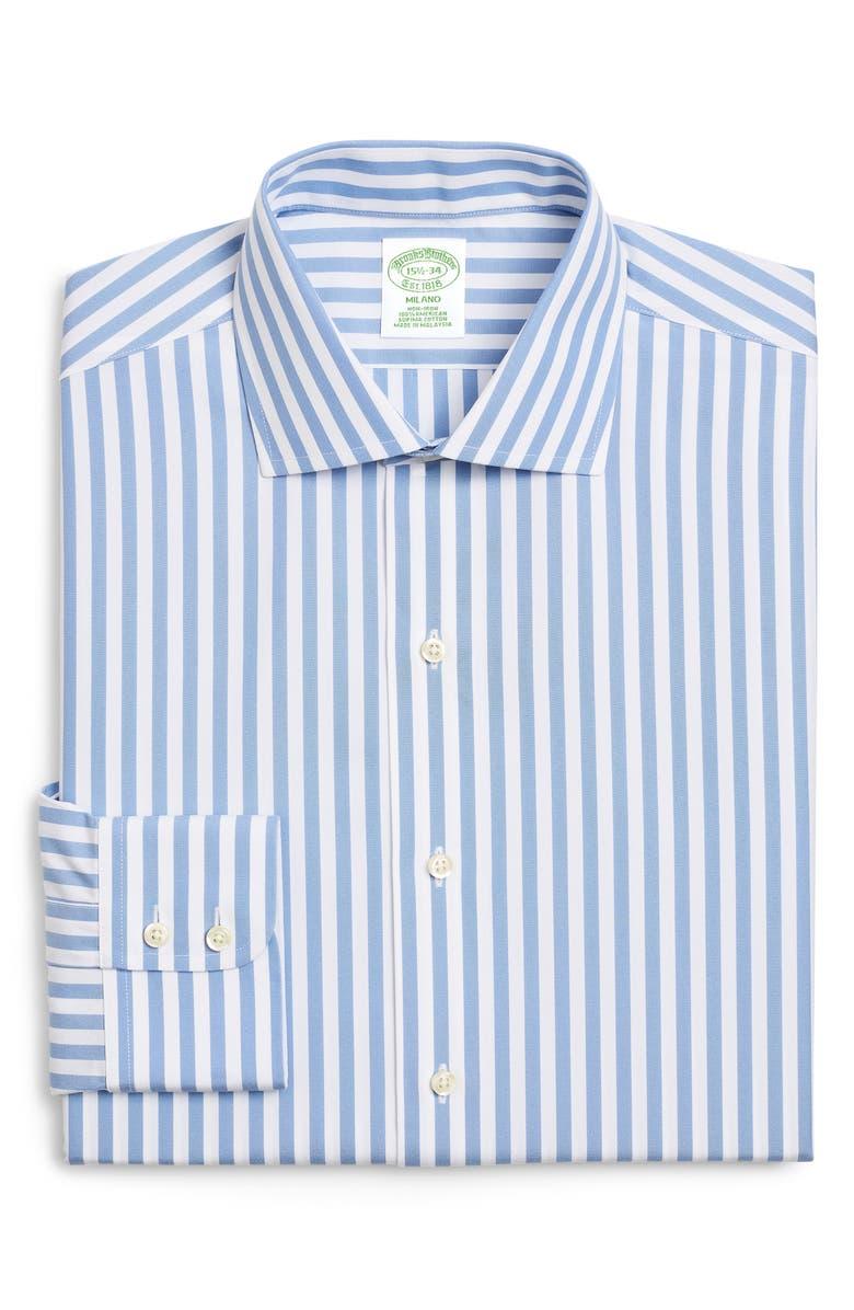BROOKS BROTHERS Trim Fit Stripe Dress Shirt, Main, color, VISTA BLUE