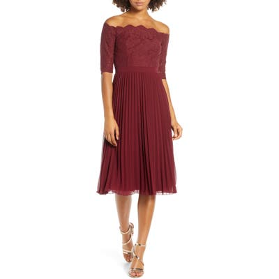 Chi Chi London Ioana Lace & Pleated Off The Shoulder Chiffon Cocktail Dress, Burgundy