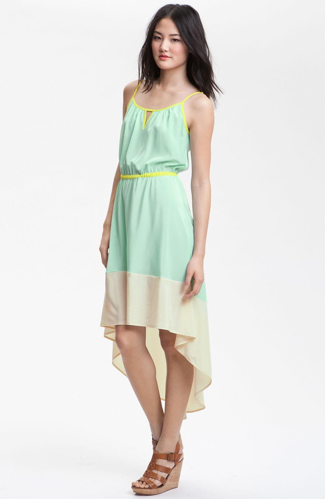 ,                             Colorblock Asymmetrical Hem Dress,                             Main thumbnail 1, color,                             400