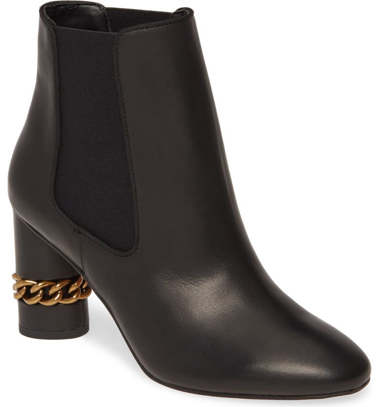 KURT GEIGER LONDON Raquel Chain Chelsea Boot, Main, color, BLACK LEATHER