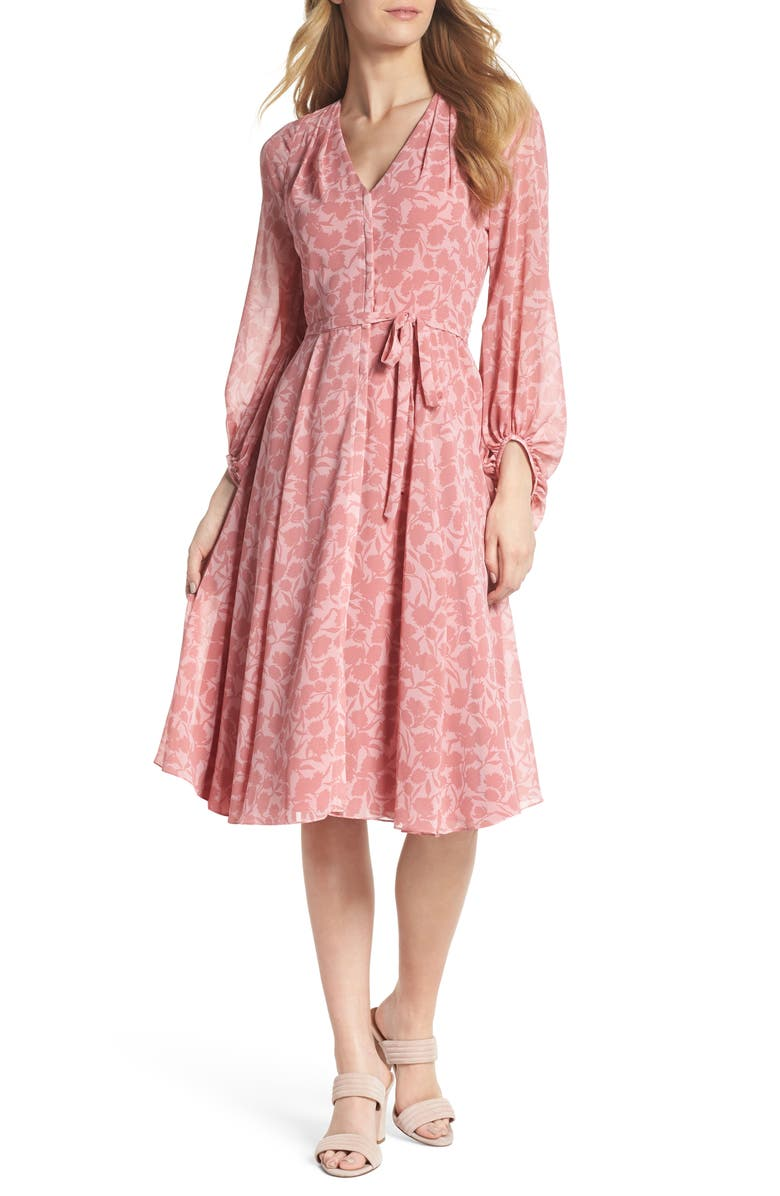 GAL MEETS GLAM COLLECTION Esther Shadow Branch Chiffon Dress, Main, color, 690