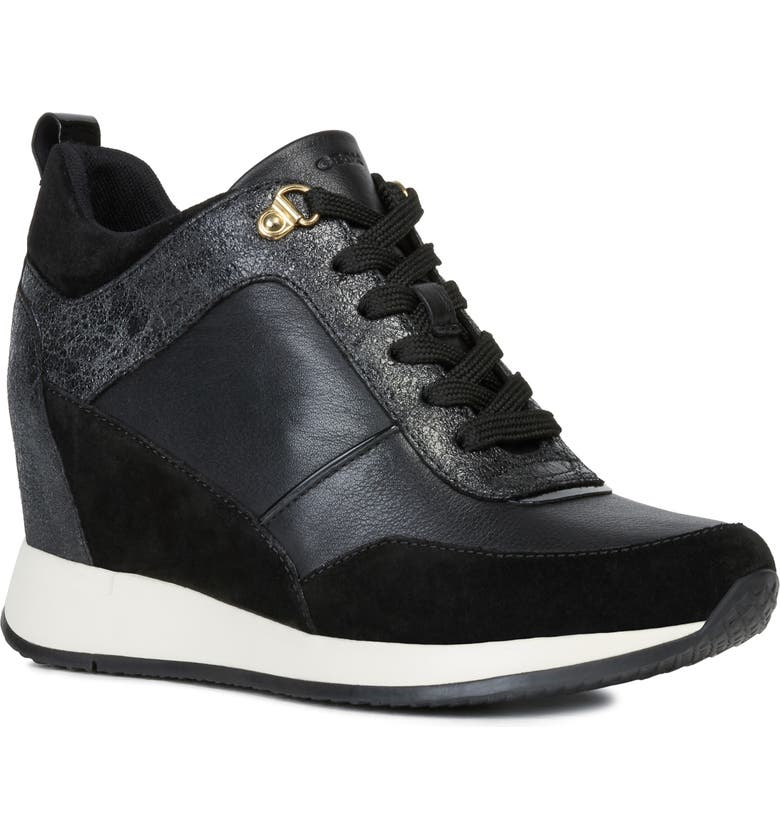 GEOX Nydame Wedge Sneaker, Main, color, BLACK LEATHER