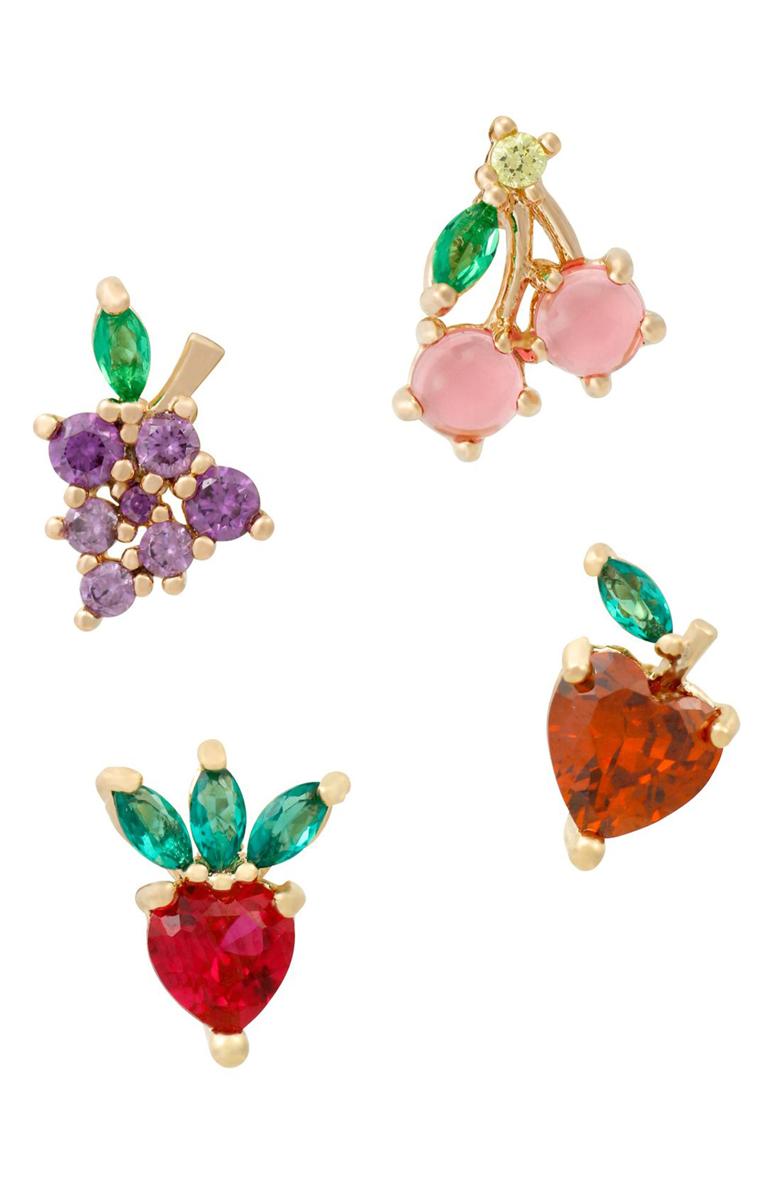 Fruit Basket Set Of 4 Mismatched Stud Earrings