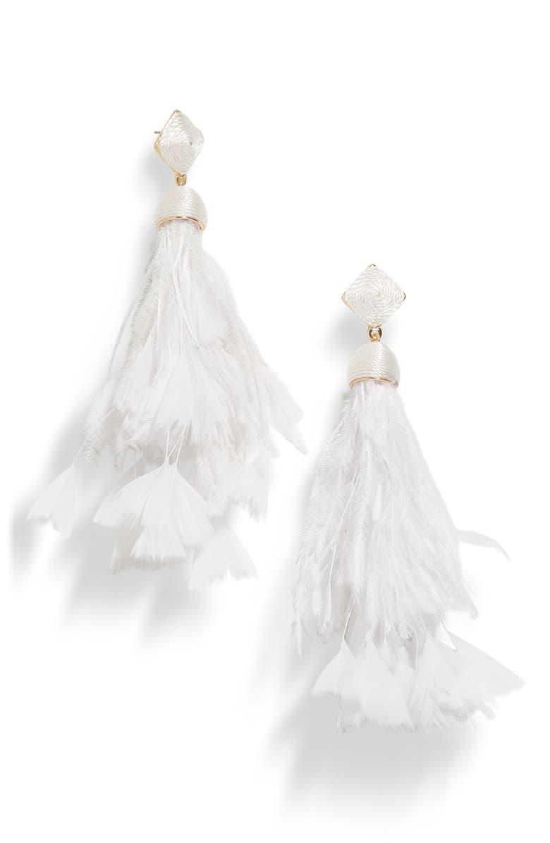 BAUBLEBAR Sesilia Feather Drop Earrings, Main, color, WHITE