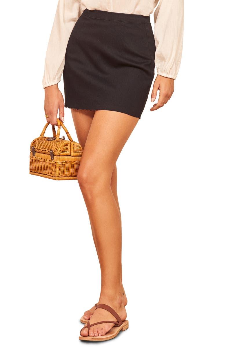 REFORMATION Evie Miniskirt, Main, color, BLACK