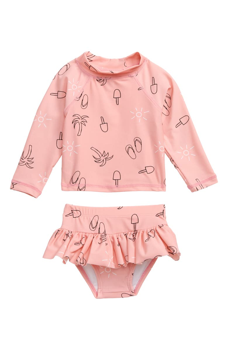 TINY TRIBE Summer Print Two-Piece Rashguard Swimsuit, Main, color, PINK