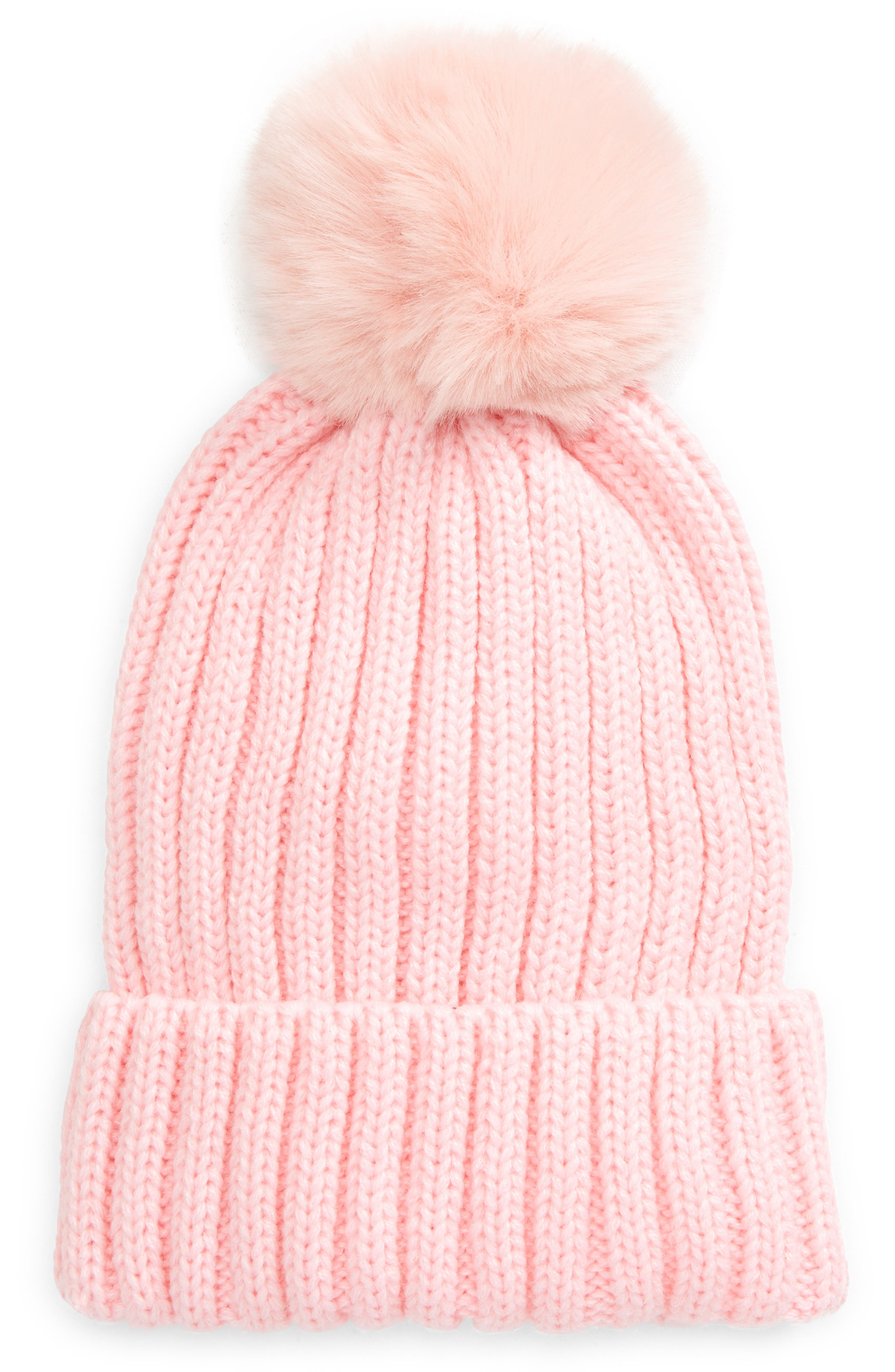 Bp. Beanie With Faux Fur Pom In Pink