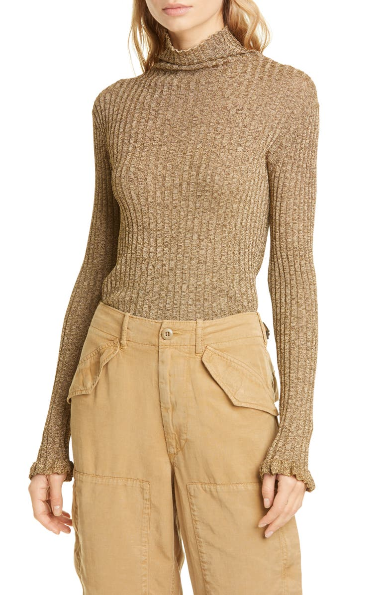 POLO RALPH LAUREN Ribbed Metallic Funnel Neck Sweater, Main, color, 040