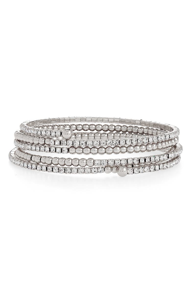 BP. Coil Bracelet, Main, color, CLEAR- RHODIUM