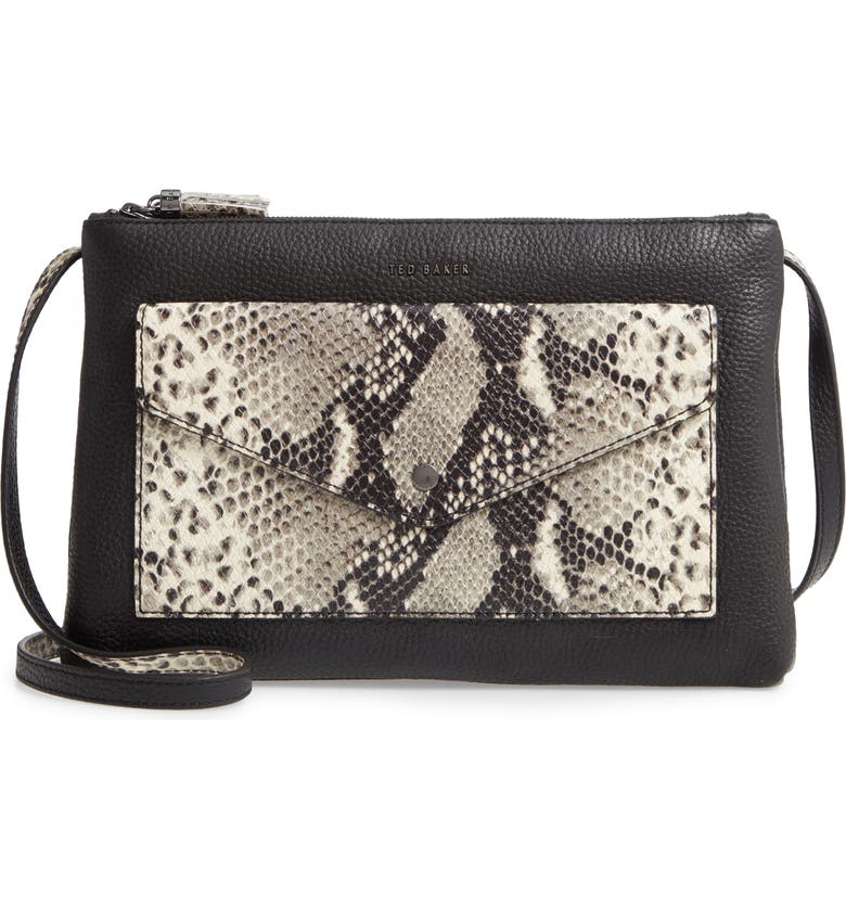 TED BAKER LONDON Jessiee Exotic Leather Crossbody Bag, Main, color, BLACK