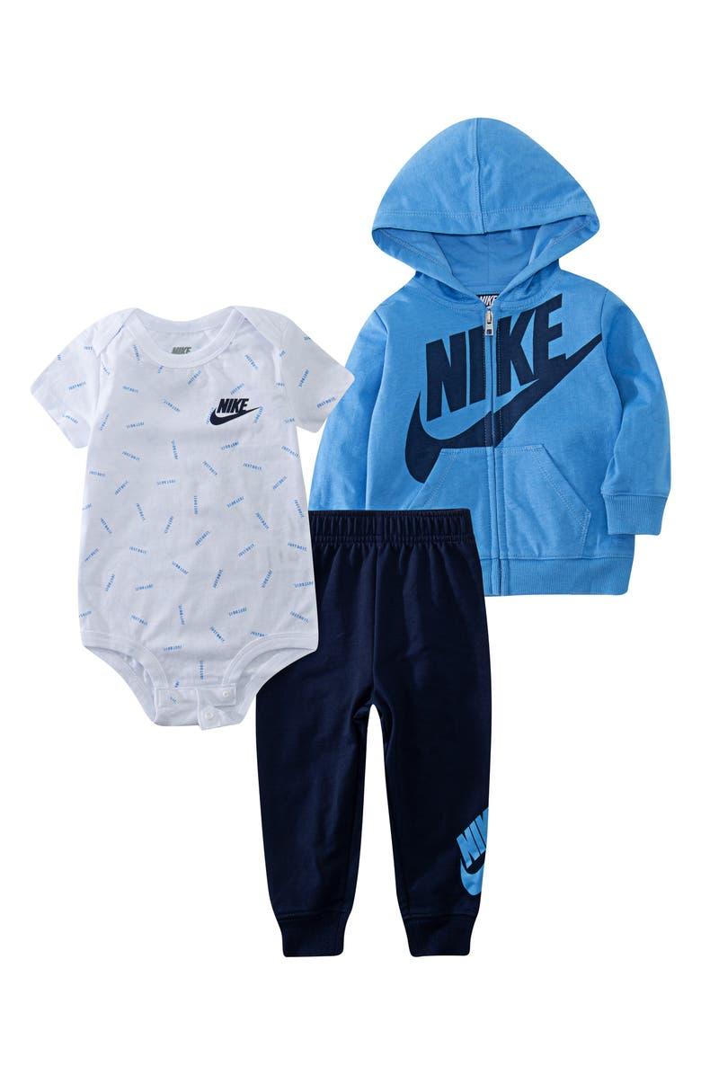 NIKE JDI Toss Hoodie, Bodysuit & Sweatpants Set, Main, color, MIDNIGHT NAVY