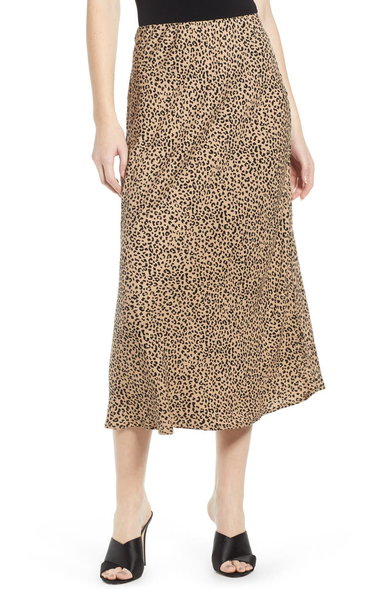 LOVE, FIRE Leopard Midi Skirt, Main, color, 001