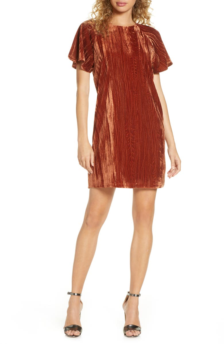 CHARLES HENRY Velvet Shift Dress, Main, color, 800